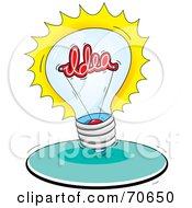 Bright Lightbulb With An Idea Inside