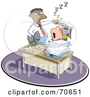 Royalty Free RF Clipart Illustration Of A Black Manager Man Lifting A Paper Off Of A Sleeping Employees Face by jtoons