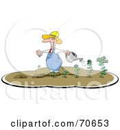 Royalty Free RF Clipart Illustration Of A Money Farming Watering His Plants And Planting New Seeds by jtoons