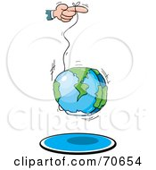Royalty Free RF Clipart Illustration Of A Hand Using The World As A Yo Yo by jtoons