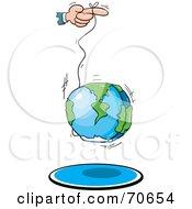 Royalty Free RF Clipart Illustration Of A Hand Using The World As A Yo Yo