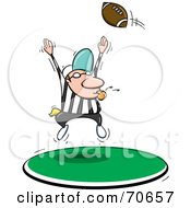 Royalty Free RF Clipart Illustration Of A Football Flying Over A Referee by jtoons