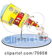 Royalty Free RF Clipart Illustration Of A Shocked Man Looking Through His Giant Telescope