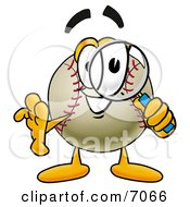Clipart Picture Of A Baseball Mascot Cartoon Character Looking Through A Magnifying Glass by Toons4Biz