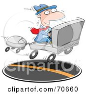 Royalty Free RF Clipart Illustration Of A Businessman Commuting On A Laptop Car by jtoons