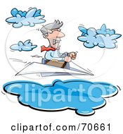 Business Man Steering A Paper Plane Through Clouds