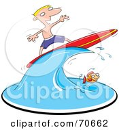 Blond Surfer Guy On A Wave Over A Fish