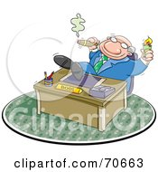 Royalty Free RF Clipart Illustration Of A Lazy Boss Smoking A Cigar And Relaxing With His Feet On His Desk by jtoons #COLLC70663-0139