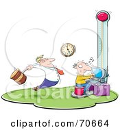 Royalty Free RF Clipart Illustration Of A Manager Swinging A Hammer Over A Stressed Employee On A Deadline by jtoons