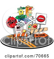 Royalty Free RF Clipart Illustration Of A Group Of Road Signs And Lights In The Middle Of A Street