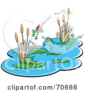 Royalty Free RF Clipart Illustration Of A Group Of Happy Frogs In A Thriving Pond