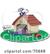 Royalty Free RF Clipart Illustration Of A Kitty Cat Resting On Top Of A Dog House by jtoons