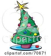 Royalty Free RF Clipart Illustration Of A Curving Decorated Christmas Tree With Lights And Ornaments