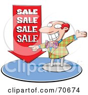 Energetic Red Haired Balding Salesman Pointing To A Red Arrow
