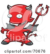 Royalty Free RF Clipart Illustration Of A Presenting Red Devil With Gray Wings And Horns
