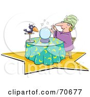 Royalty Free RF Clipart Illustration Of A Fortune Teller With Her Crystal Ball And Bird by jtoons