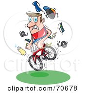 Royalty Free RF Clipart Illustration Of A Mountain Biker Losing Control Of His Bike And Belongings by jtoons