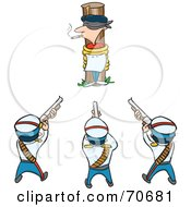Royalty Free RF Clipart Illustration Of A Firing Squad Aimed At A Man Smoking And Tied Against A Pole by jtoons