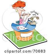 Royalty Free RF Clipart Illustration Of A Red Haired Receptionist Filing Her Nails And Ignoring The Phone