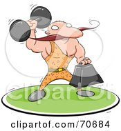 Royalty Free RF Clipart Illustration Of A Strong Man Holding Weights by jtoons