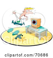 Royalty Free RF Clipart Illustration Of A Businessman Freaking Out About A Bomb On His Computer Screen