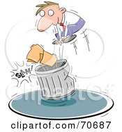 Royalty Free RF Clipart Illustration Of A Business Man Slamming Files Into A Trash Can by jtoons
