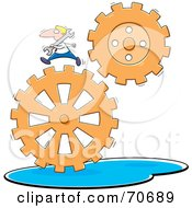 Businessman Carrying A Wrench And Running On Gears