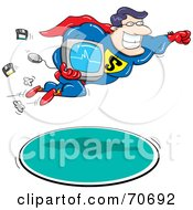 Royalty Free RF Clipart Illustration Of A Super Hero Man Flying With A Computer by jtoons