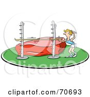 Royalty Free RF Clipart Illustration Of A Confused High Jumper Adjusting The Bar
