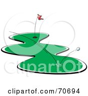 Royalty Free RF Clipart Illustration Of A Golf Ball Bouncing Off The Grass
