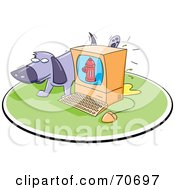 Royalty Free RF Clipart Illustration Of A Purple Dog Taking A Leak On A Computer by jtoons