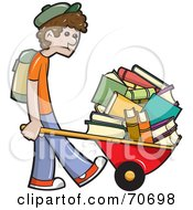 Sad School Boy Pushing Tons Of Books In A Wheelbarrow