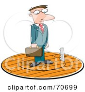 Royalty Free RF Clipart Illustration Of A Saw Cutting A Circle In The Floor Under A Businessman by jtoons