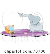 Royalty Free RF Clipart Illustration Of A Scared Elephant By A Computer Mouse by jtoons