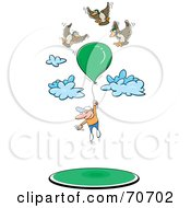 Birds Floating Around A Man Hanging Onto A Balloon