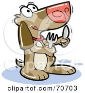 Royalty Free RF Clipart Illustration Of A Begging Dog Holding A Knife And Fork