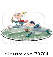 Royalty Free RF Clipart Illustration Of Two Business Men In A Relay Race by jtoons