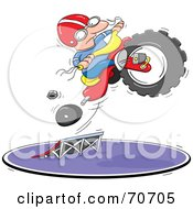 Royalty Free RF Clipart Illustration Of A Man Leaping His Tricycle As It Falls Apart by jtoons