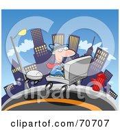 Commuting Businessman Driving A Laptop Car Through A City