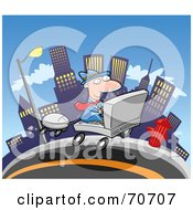 Royalty Free RF Clipart Illustration Of A Commuting Businessman Driving A Laptop Car Through A City by jtoons