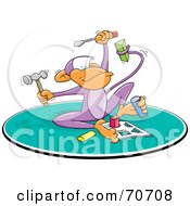 Royalty Free RF Clipart Illustration Of A Smart Monkey Holding Tools And Doing A Puzzle