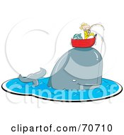 Royalty Free RF Clipart Illustration Of A Whale Caught On A Fishing Pole Lifting Up A Man In His Boat