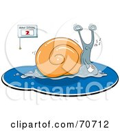 Royalty Free RF Clipart Illustration Of A Slow Whistling Snail Carrying A Mug by jtoons