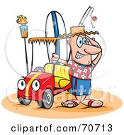 Royalty Free RF Clipart Illustration Of A Happy Guy With A Surf Board And A Fishing Pole In His Beach Buggy