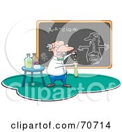 Royalty Free RF Clipart Illustration Of A Male Professor Mixing Chemicals In A Class