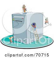 Royalty Free RF Clipart Illustration Of A Team Of Tiny Men Repairing A Computer by jtoons