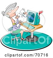 Royalty Free RF Clipart Illustration Of A Hand Reaching Out Of A Computer And Giving A Woman Mail