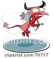 Royalty Free RF Clipart Illustration Of A Red Cupid Devil Holding A Bow And Arrow