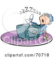 Royalty Free RF Clipart Illustration Of A Security Guard Sleeping With His Feet On Top Of A Safe A Donut In Hand