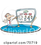 Royalty Free RF Clipart Illustration Of A Businessman Giving A Presentation And Pointing To A Diagram
